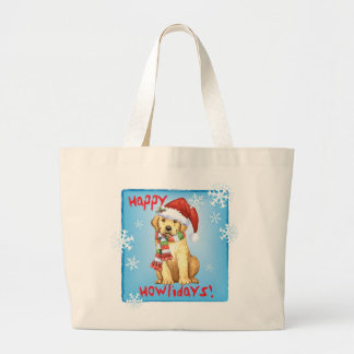 Happy Howliday Yellow Lab Large Tote Bag