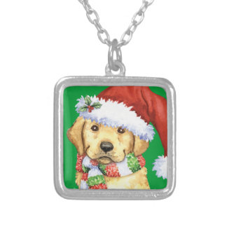 Happy Howliday Yellow Lab Silver Plated Necklace