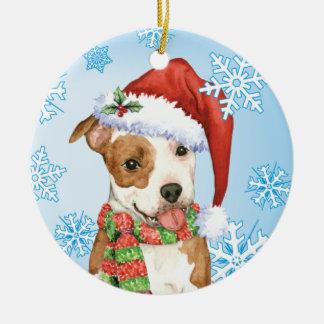 Happy Howlidays Am Staff Round Ceramic Ornament