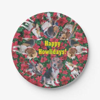Happy Howlidays Beagle Christmas Paper Plates