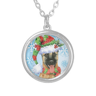 Happy Howlidays Belgian Malinois Silver Plated Necklace