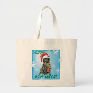 Happy Howlidays Belgian Sheepdog Large Tote Bag