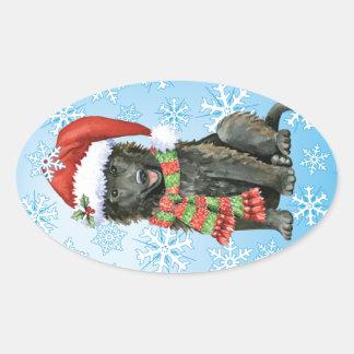 Happy Howlidays Belgian Sheepdog Oval Sticker