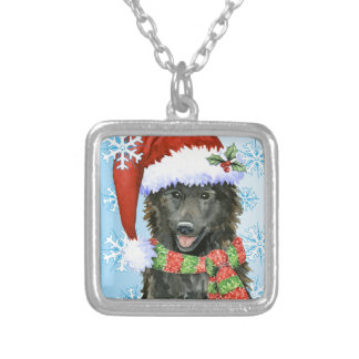 Happy Howlidays Belgian Sheepdog Silver Plated Necklace