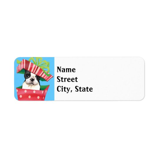Happy Howlidays Boston Terrier Return Address Label