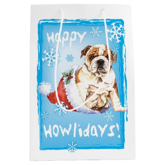 Happy Howlidays Bulldog Medium Gift Bag