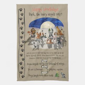 Happy Howlidays Cartoon Dogs Holiday Quotes Kitchen Towel