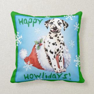 Happy Howlidays Dalmatian Throw Pillow