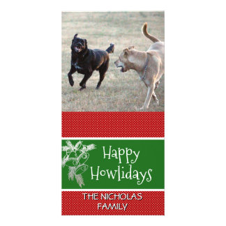 Happy Howlidays | Dog Christmas Photo Red Green Card