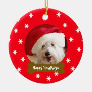 Happy Howlidays Dog Snowflake Christmas Ornament