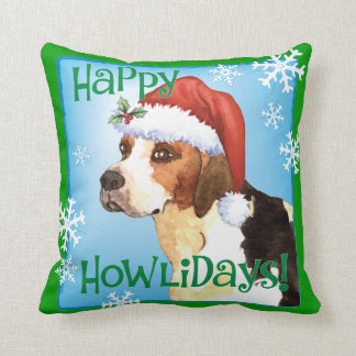 Happy Howlidays English Foxhound Throw Pillow