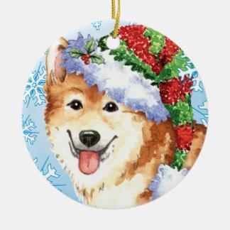 Happy Howlidays Icelandic Sheepdog Ceramic Ornament