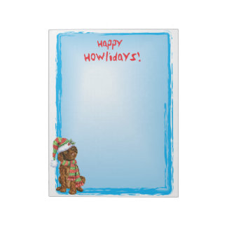 Happy Howlidays Irish Water Spaniel Notepad