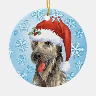 Happy Howlidays Irish Wolfhound Ceramic Ornament