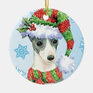 Happy Howlidays Italian Greyhound Round Ceramic Ornament