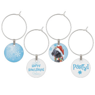 Happy Howlidays Kerry Blue Terrier Wine Glass Charms