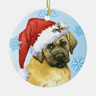Happy Howlidays Mastiff Ceramic Ornament