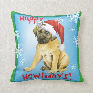Happy Howlidays Mastiff Throw Pillow