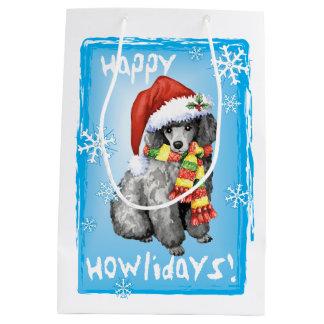 Happy Howlidays Miniature Poodle Medium Gift Bag