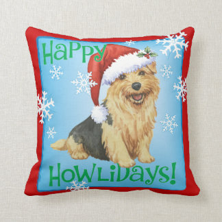 Happy Howlidays Norfolk Terrier Throw Pillow