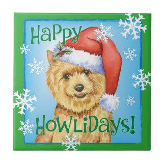 Happy Howlidays Norwich Terrier Ceramic Tiles