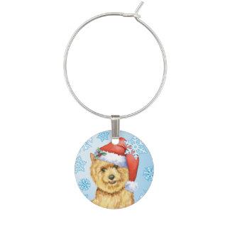 Happy Howlidays Norwich Terrier Wine Glass Charm