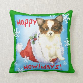 Happy Howlidays Papillon Throw Pillow