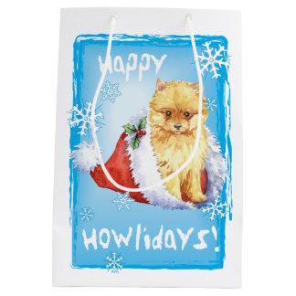 Happy Howlidays Pomeranian Medium Gift Bag