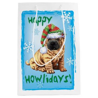 Happy Howlidays Shar-Pei Medium Gift Bag