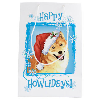 Happy Howlidays Shiba Inu Medium Gift Bag