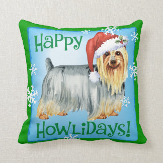 Happy Howlidays Silky Terrier Throw Pillow