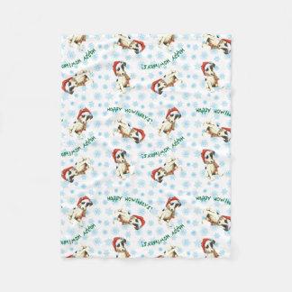 Happy Howlidays Smooth Fox Terrier Fleece Blanket