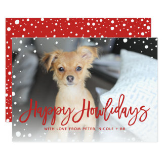 Happy Howlidays Snow Red | Pet Holiday Photo Card