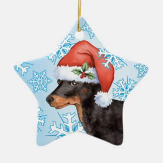 Happy Howlidays Toy Manchester Terrier Ceramic Ornament