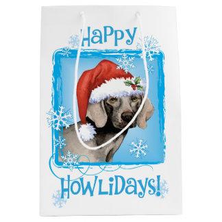 Happy Howlidays Weimaraner Medium Gift Bag