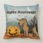 Happy Howloween Airedale Terrier Throw Pillow