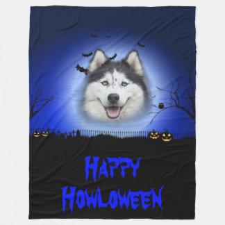 Happy Howloween Husky Fleece Blanket