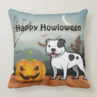 Happy Howloween Staffordshire Bull Terrier Throw Pillow