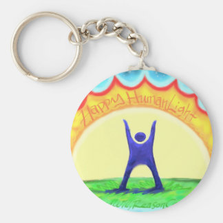 Happy HumanLight.jpg Basic Round Button Keychain