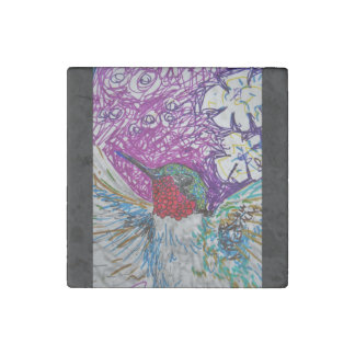Happy hummingbird stone magnets