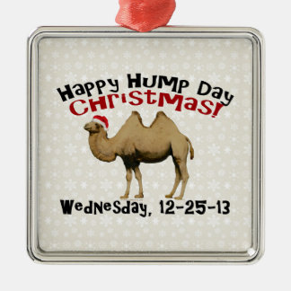 Happy Hump Day Christmas Funny Wednesday Camel Silver-Colored Square Ornament