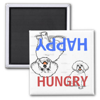Happy Hungry Bichon Frise Fed Magnet