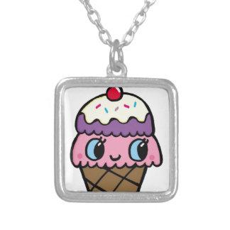 Happy Ice Cream Cone Silver Plated Necklace