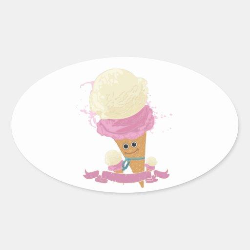 Happy Ice Cream Cone Stickers