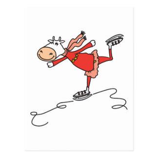 happy ice skating cow postcard