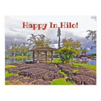 """HAPPY IN HILO"" /LILIUOKALANI GARDENS POSTCARD"
