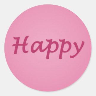 Happy in Pink Text Round Sticker