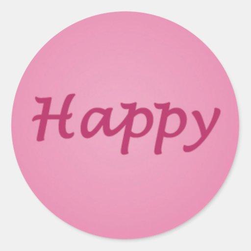 Happy in Pink Text Sticker