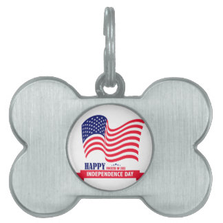 Happy Independence  Day 4 th July American Flag Pet Tags