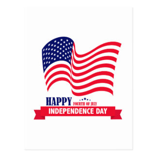 Happy Independence  Day 4 th July American Flag Postcard